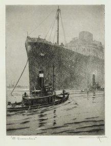 "Otto Kuhler, etching, ""At Quarantine"""