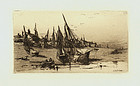 "Charles A. Platt, etching, ""Provincial Fishing Village"""