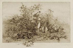 "Frederick M. Spiegle, etching, ""Love's Harvest"""