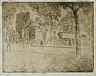Joseph Pennell, etching, Chelsea Church, unpublished