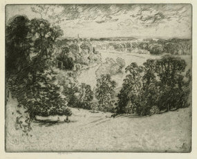 "Joseph Pennell, etching, ""The Thames at Richmond"""
