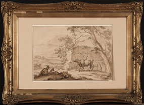 "18th Century Dutch School, ink & wash, ""Pastoral Scene"""