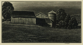 "Asa Cheffetz, wood engraving,  ""Farm Buildings"""
