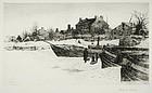 "Stephen Parrish, etching, ""Trenton--Winter, 1883"""