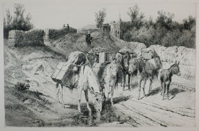 "Peter Moran, etching, ""On the Road to Santa Fe,"" 1884"