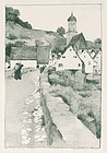 Grace Rhodes Dean, lithograph, Stone Bridge in Harburg