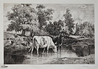 "Peter Moran, etching, ""Crossing the Ford,"" c. 1886-87"