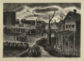 "Julius Tanzer, Lithograph, ""Old Farmhouse,"" c. 1940"