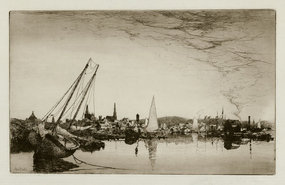 "Stephen Parrish, Etching, ""Evening- Gloucester,"" 1883"