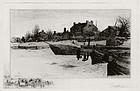 "Stephen Parrish, Etching, ""Trenton- Winter,"" 1883"