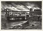 "Julius Tanzer, lithograph, ""Harlem River Bridge"""