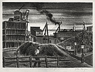 "Julius Tanzer, Lithograph, ""Coal Yard,"" c. 1940"
