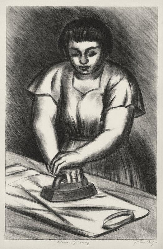 """Julius Tanzer, lithograph, """"Woman Ironing"""" c. 1940"""