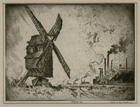"Joseph Pennell, etching, ""Old and New Mills,"" 1910"