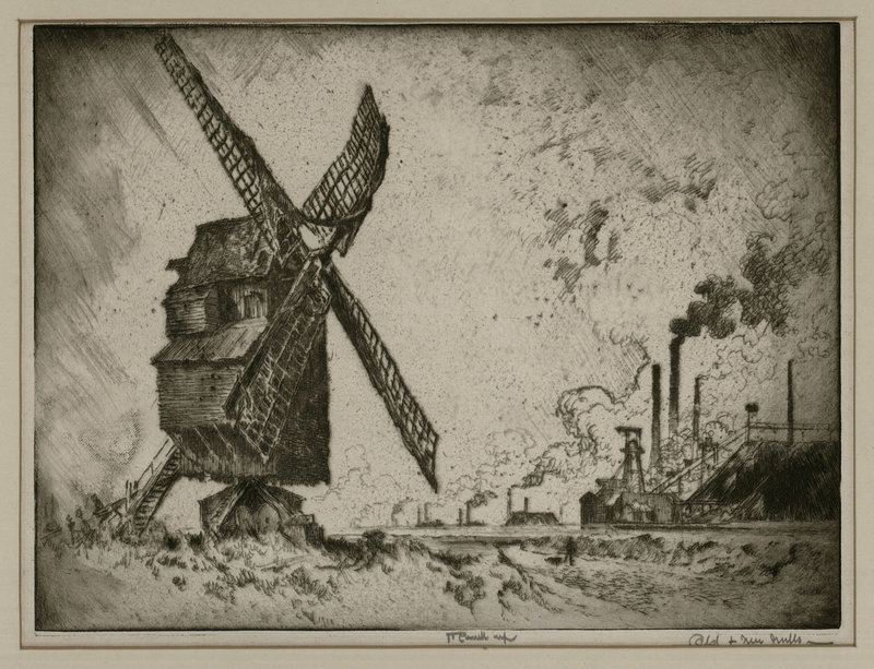 """Joseph Pennell, etching, """"Old and New Mills,"""" 1910"""