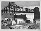 "Julius Tanzer, litho, ""Bridge in Astoria, Long Island"""