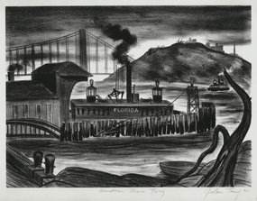 "Julius Tanzer, Lithograph, ""Hudson River Ferry"" c. 1940"