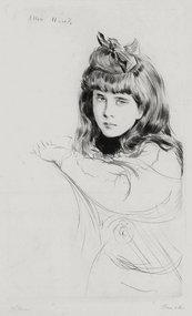 """Paul Cesar Helleu, etching, """"Ellen,"""" c. 1890"""