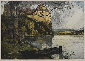 "Luigi Kasimir, etching, ""Persenbeug Castle, Austria"""