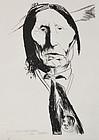 """Leonard Baskin, lithograph, """"Wolf Robe"""""""
