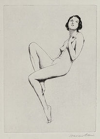 "Warren Davis, Etching, ""Seated Nymph"""