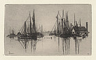 "Stephen Parrish, etching, ""Gloucester Harbor- Morning"""