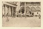 "David Muirhead Bone, Etching, ""The Piazza"", 1901"