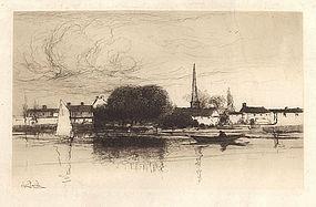 "Stephen Parrish, Etching, ""Near Dinard, Brittany,"" 1888"
