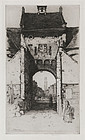 "David Y. Cameron, Etching, ""The Gateway of Bruges"""