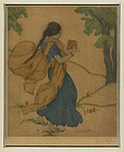 """Elyse Ashe Lord, Etching, """"Young Girl With Cymbals"""""""