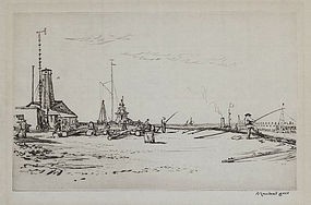 "David Muirhead Bone, Etching, ""The Jetty, Gorleston"""