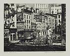 """Lawrence Nelson Wilbur, Etching, """"Peck's Slip- N.Y.C."""""""