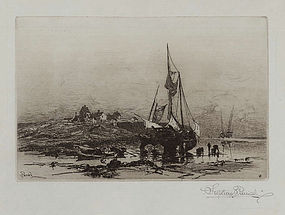 "Stephen Parrish, ""A Fishing Hamlet- Bay of Fundy, 1882"""
