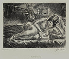"John Sloan, Etching, ""Nude Reading,"" 1928"