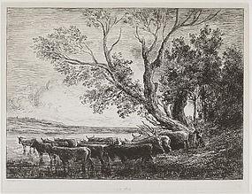 """Charles F. Daubigny, Etching, """"Le Gue,"""" 1865"""