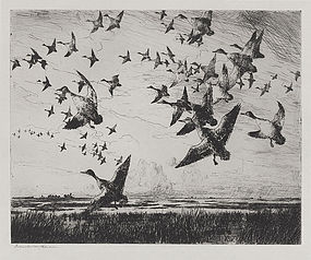 "Frank Benson, Etching, ""Morning Flight,"" 1918"