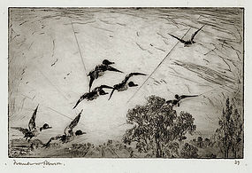 "Frank Benson, Etching, ""Over the Treetops,"" 1915"