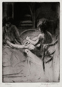 "Jacques Villon, Etching, ""La Pedicure"" 1907"