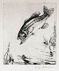 "William Schaldach, Etching, ""Fighting Mad- Black Bass"""