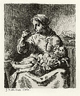 "Jean Francois Millet, Etching ""Woman Feeding Her Child"""