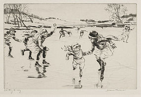 "Diana Thorne, Etching, ""Skating To-day,"" c. 1930"