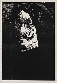 "Leonard Baskin, Wood Engraving, ""Portrait of a Man"""