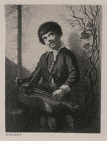 "William Morris Hunt, Lithograph, ""The Hurdy-Gurdy Boy"""