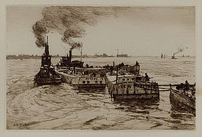 "Charles Adams Platt, Etching, ""Canal Boats and Tugs"""