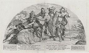 "Nicolas Mignard, Etching, ""Perseus Slaying Medusa"" 1637"