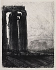 "Joseph Pennell, Litho, ""The Temple of Jupiter, Evening"""