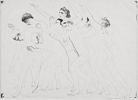 "Arthur Bowen Davies, Lithograph, ""Olympic Game"" 1919"