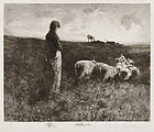 "William L. Lathrop, Etching, ""Shepherdess at Sunset"""