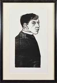 "Leonard Baskin, Woodcut, ""Self Portrait as a Priest"""