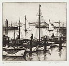 "Gene Kloss, Etching, ""San Francisco Yacht Harbor"" 1935"